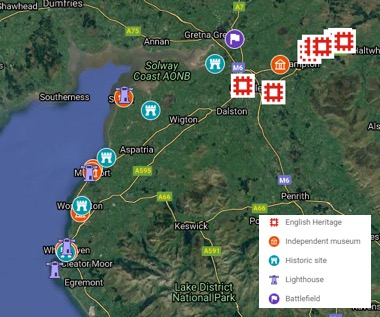 English Solway - Historic Sites and Museums Map