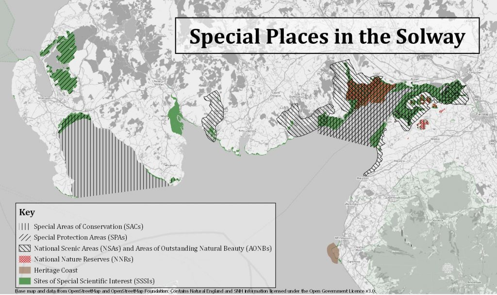 Map showing designated areas for nature conservation in the solway region.