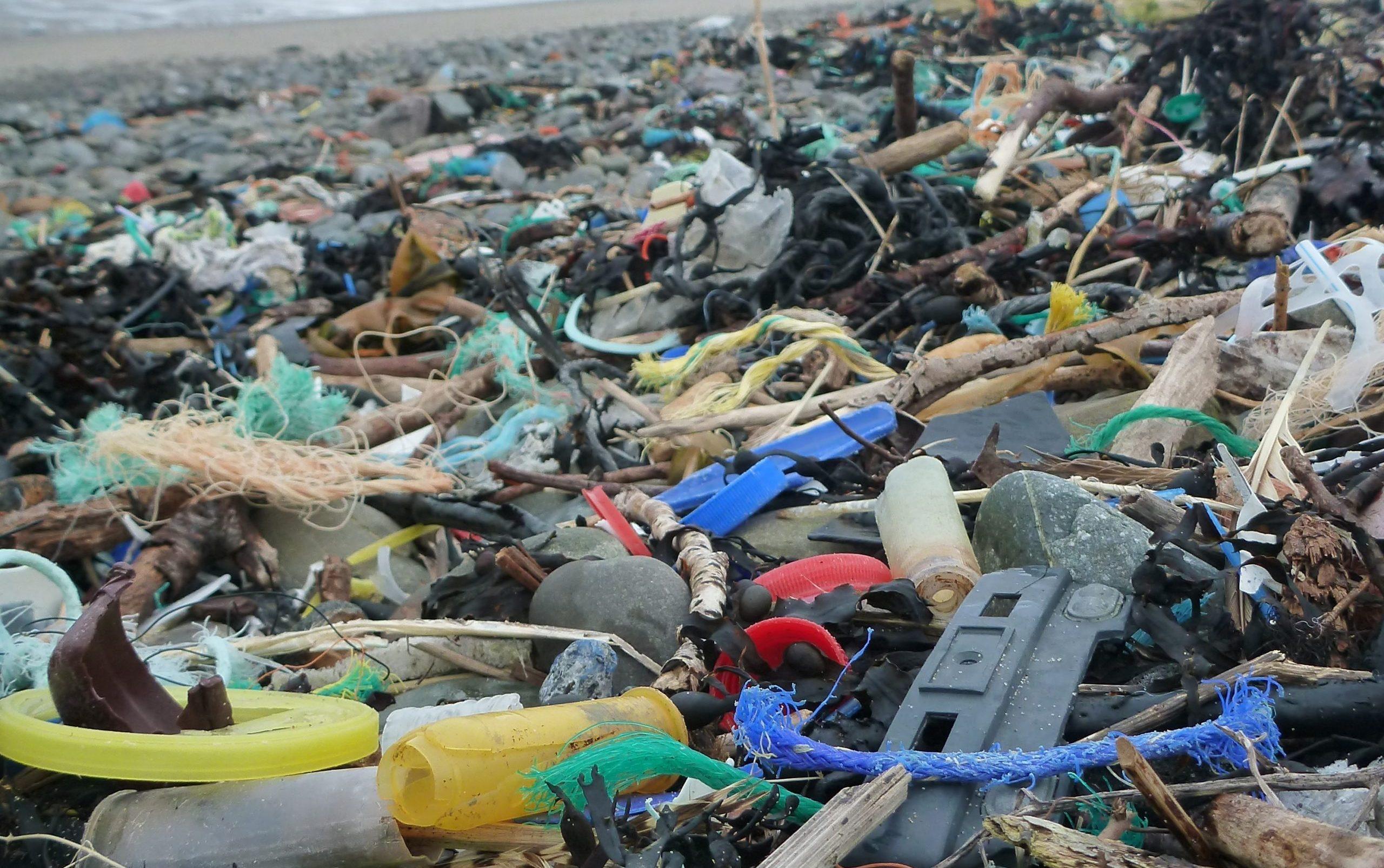 Plastic Litter on beach at Port Logan